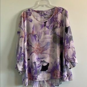 Jennifer Lopez Purple Floral Top w/ Shear Back XL